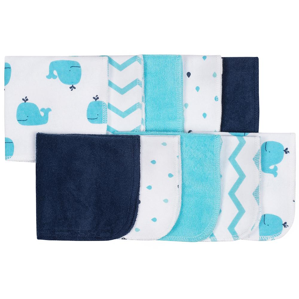 10-Pack Boys Whale Terry Washcloths