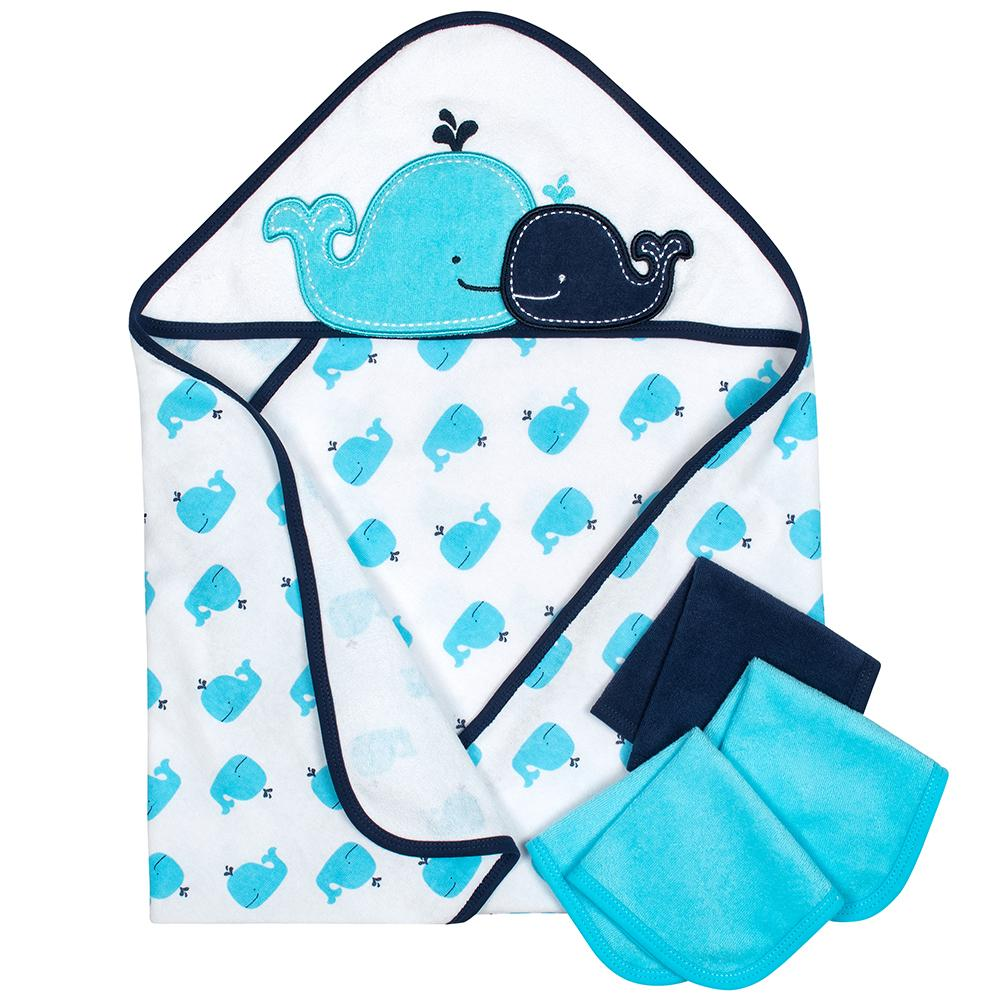 4-Piece Boys Whale Hooded Towel & Washcloths Set