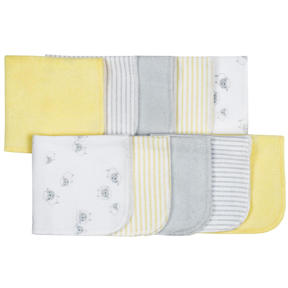 10-Pack Neutral Lamb Terry Washcloths