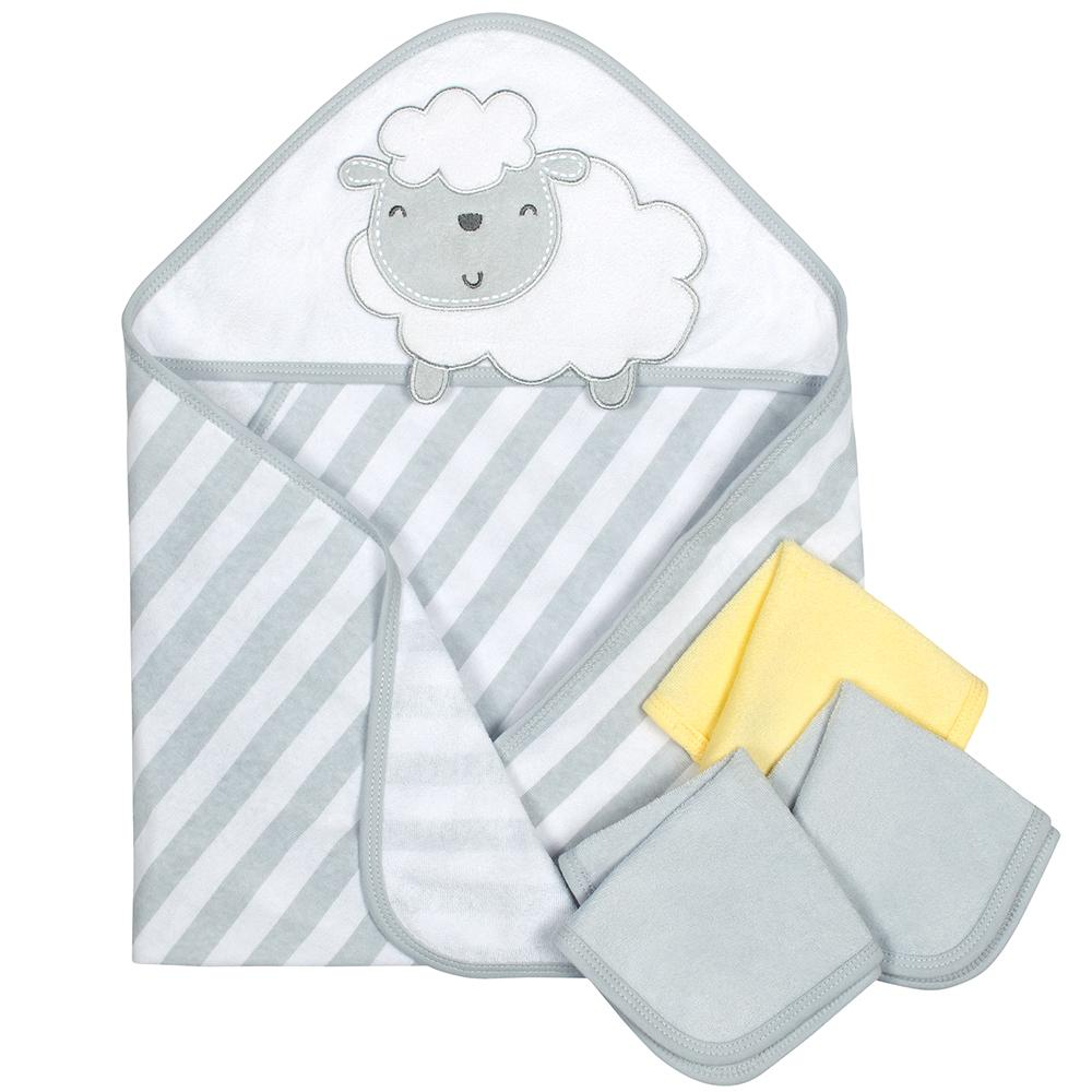4-Piece Neutral Grey Lamb Hooded Towel & Washcloths Set-Gerber Childrenswear