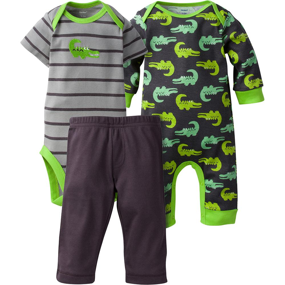 3-Piece Boys Alligator Coverall   Bodysuit Set 009ff8803579