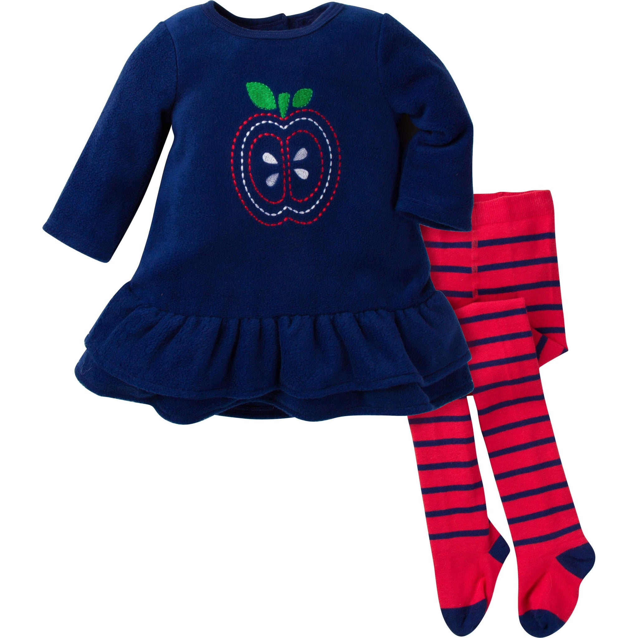 2-Piece Girls Essentials Fleece Dress with Tights Set - Apples