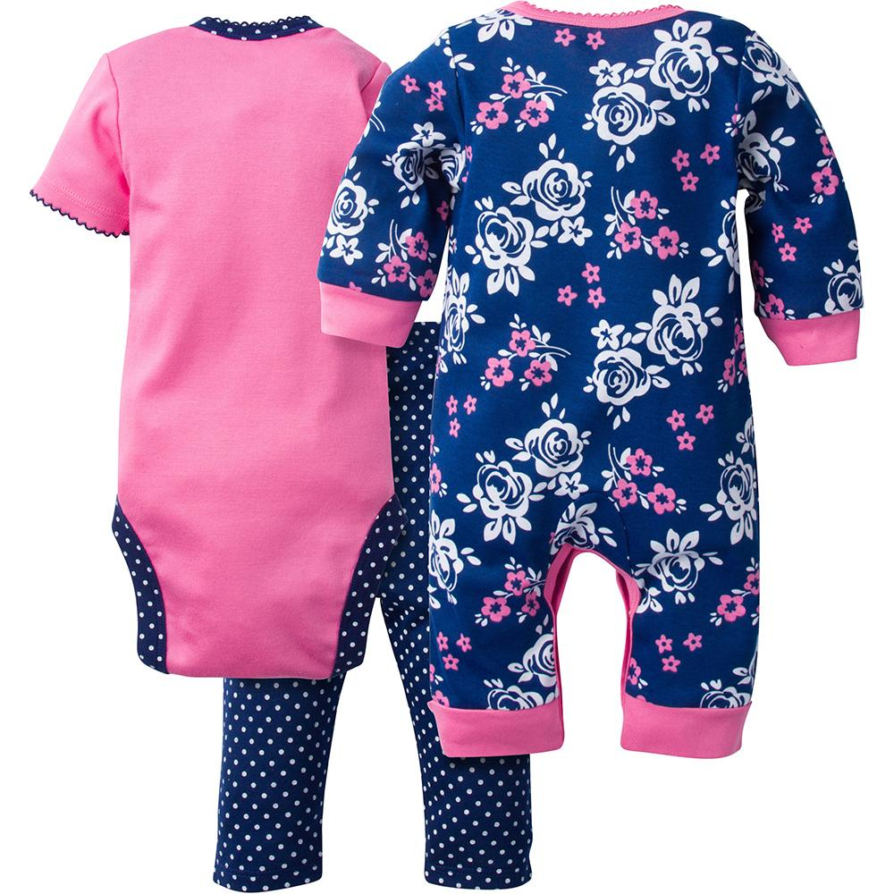 a9b1d139ba 3-Piece Girls Roses Coverall   Bodysuit Set - Back
