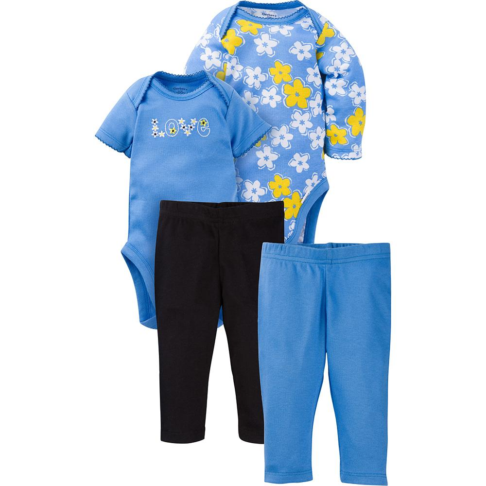 4-Piece Girls Daisy Bodysuit & Pant Set