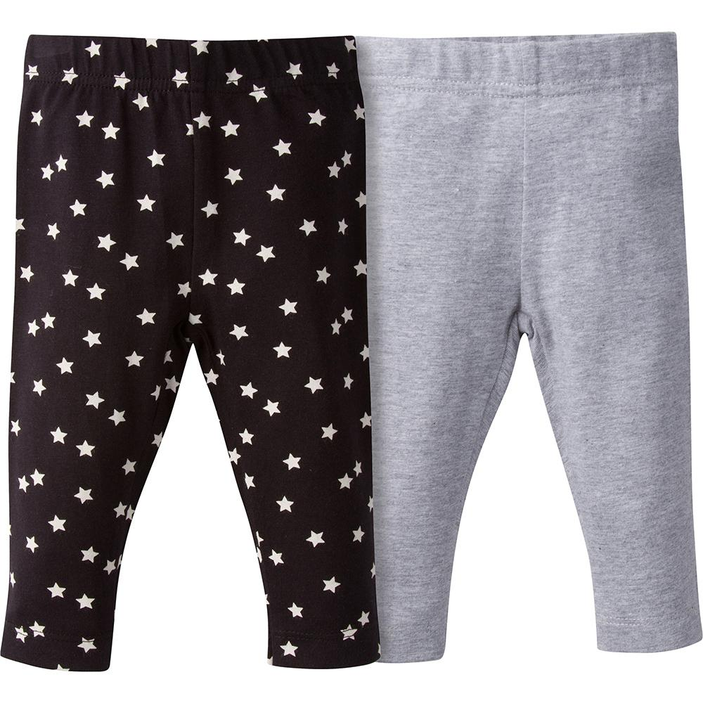 Girls Gray and Black Star Leggings - 2-Piece