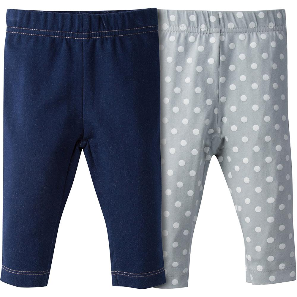 Girls Denim And Dots Leggings - 2-Piece