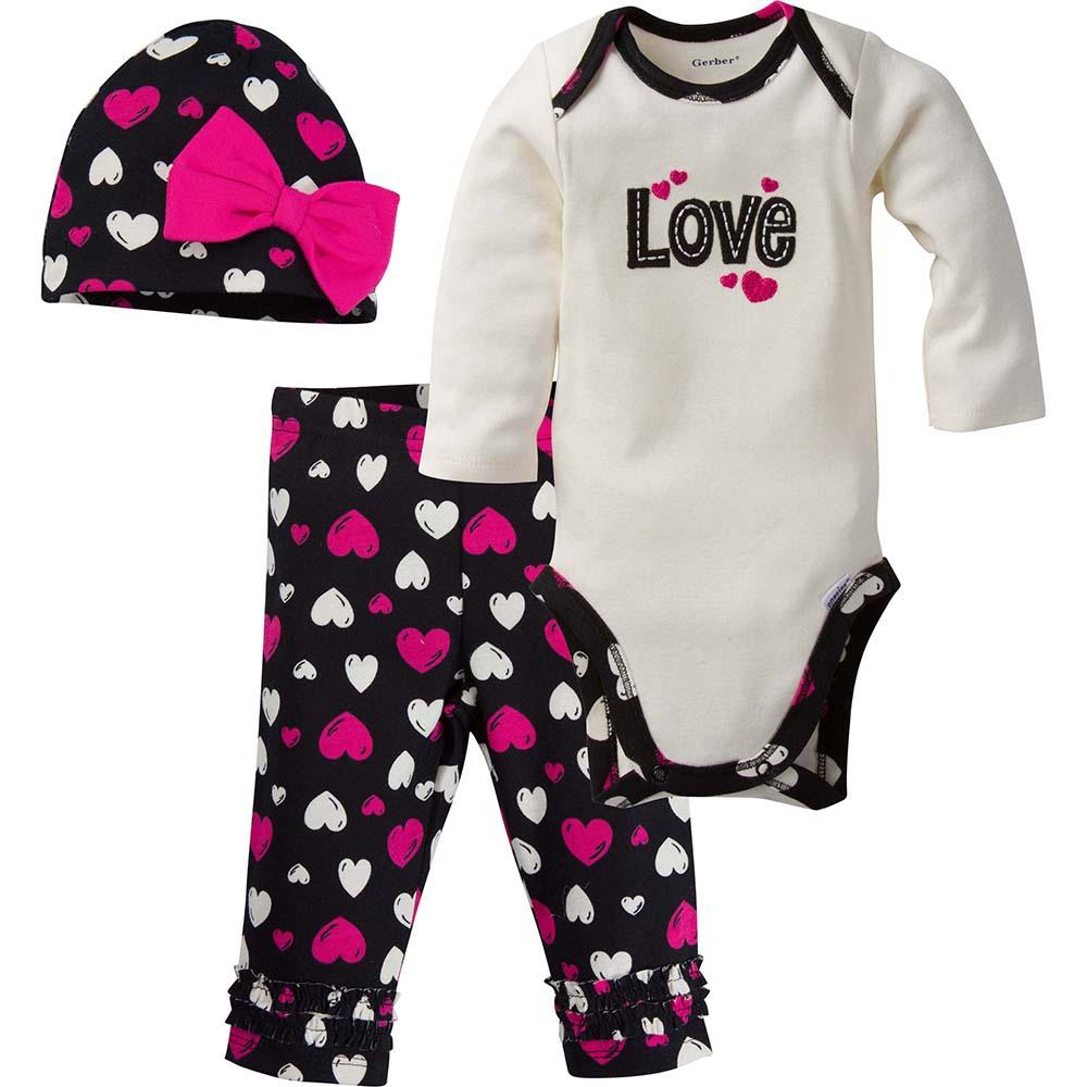 3 Piece Girls Hearts Bodysuit Amp Pants Set Gerber