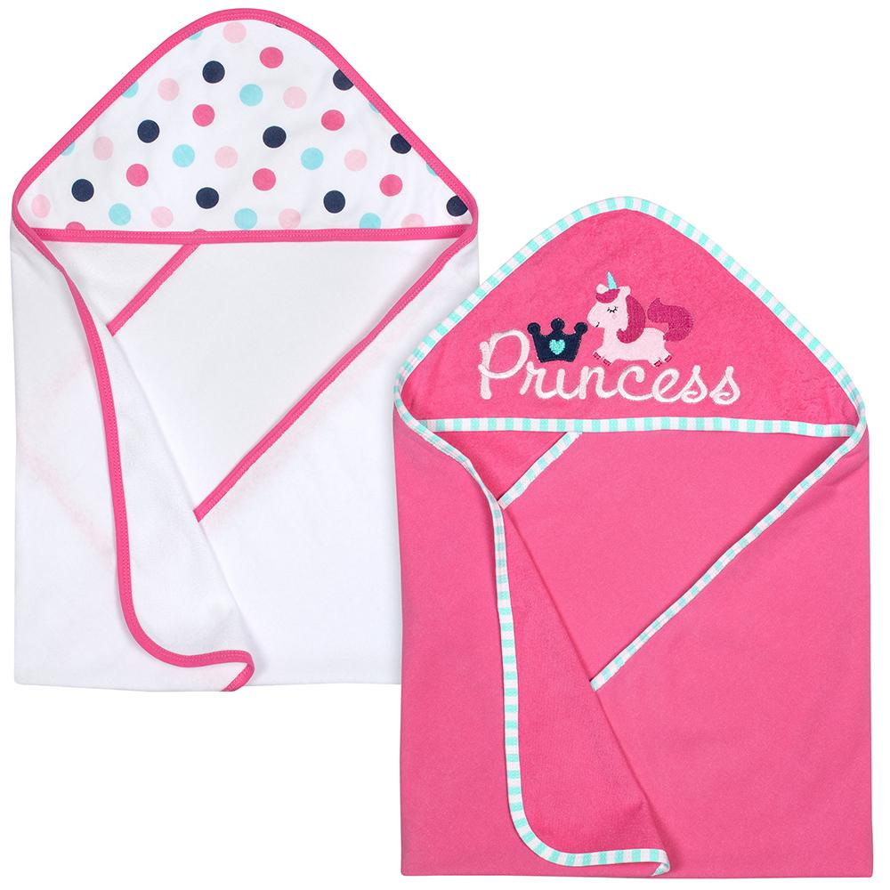 2-Pack Girls Princess Terry Hooded Towels