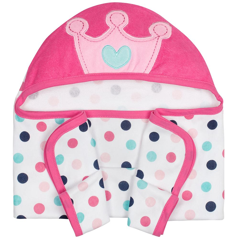 1-Pack Girls Princess Terry Hooded Bath Wrap
