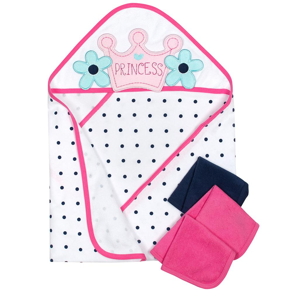 4-Piece Girls Princess Hooded Towel & Washcloths Set-Gerber Childrenswear
