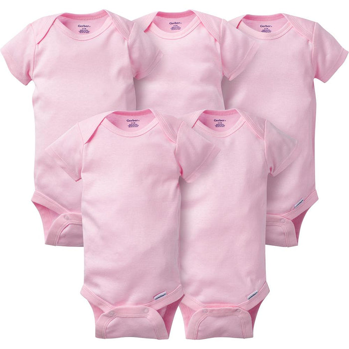 16f19e606 5-Pack Solid Pink Onesies® for Babies - Short Sleeve Baby Bodysuits – Gerber  Childrenswear