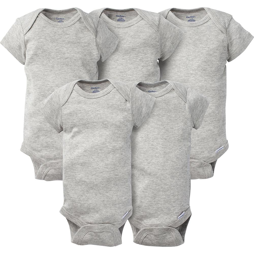 5-Pack Solid Grey Onesies® Brand Short Sleeve Bodysuits