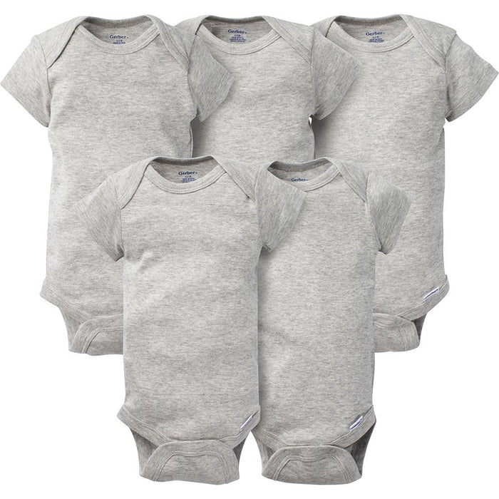 5-Pack Solid Grey Onesies® Brand Short Sleeve Bodysuits – Gerber ...
