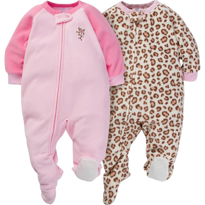 566ea066d 2-Pack Girls Leopard Print Infant Blanket Sleepers – Gerber ...