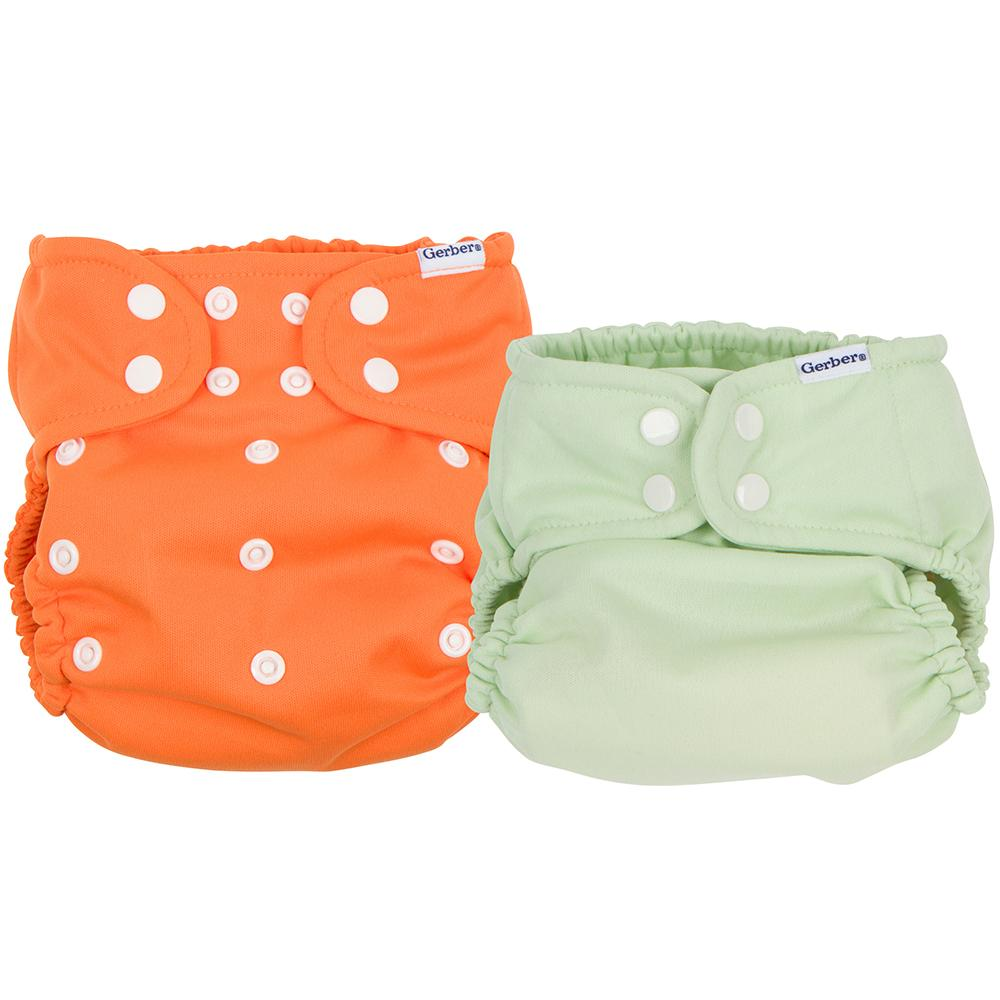 2-Pack Neutral Orange & Green All-In-One Snap Cloth Diaper
