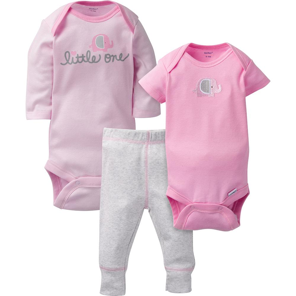 3fef409658465 3-Piece Girls Pink Elephant Take-Me-Home Set