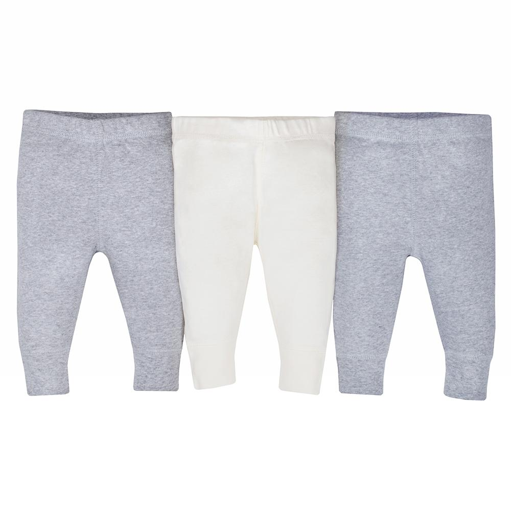 3-Pack Organic Neutral Off-White & Grey Active Pants