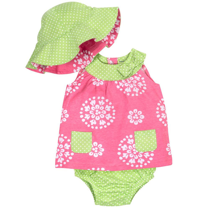 87f335d508b 3-Piece Girls Lime Green   Pink Dress Set With Reversible Hat – Gerber  Childrenswear