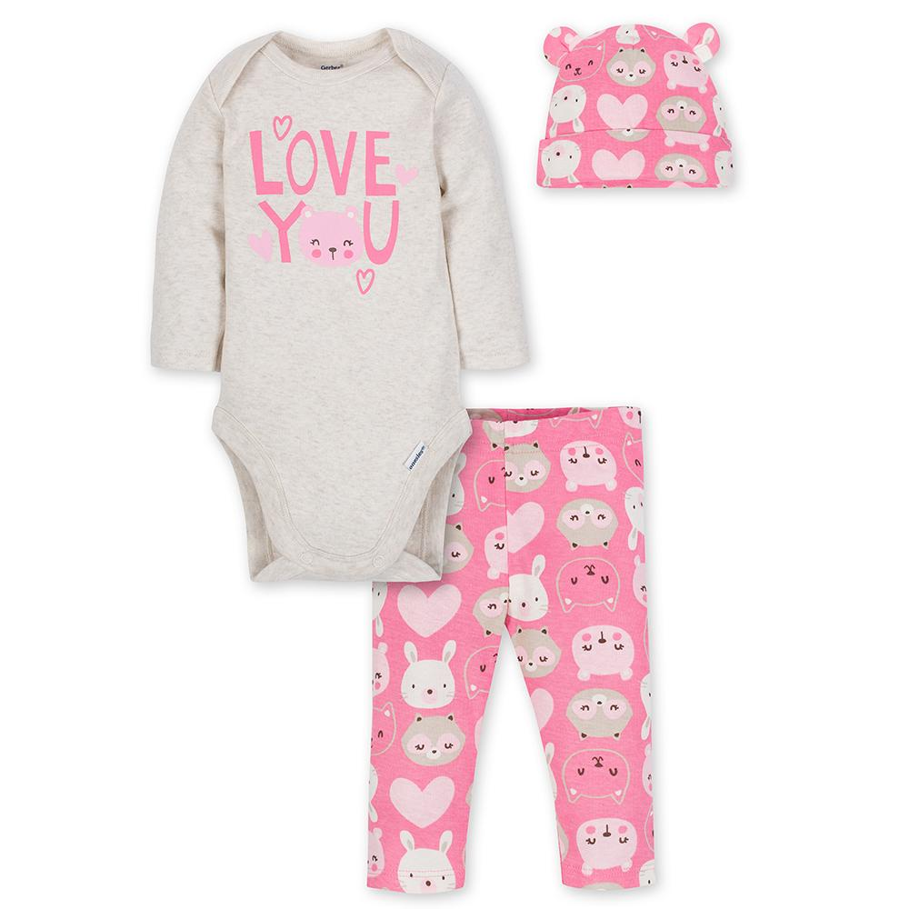 3-Piece Girls Bunny Bodysuit & Pants Set