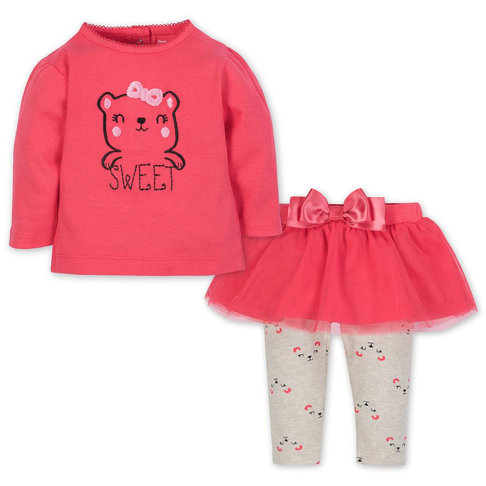 2-Piece Sweet Bear Girls Top & Tutu Leggings Set