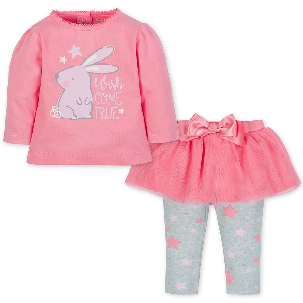2-piece Girls Bunny Top & Tutu Leggings Set
