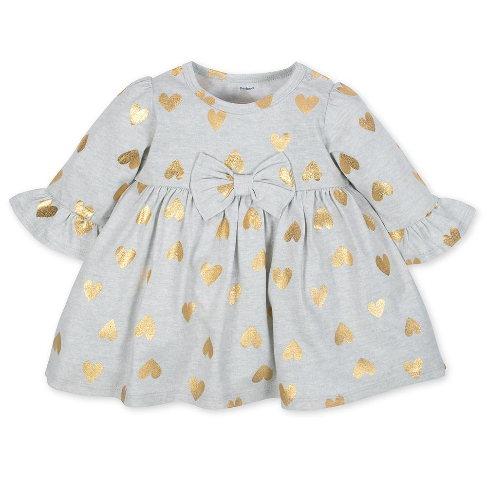 2-Piece Girls Gold Hearts Dress & Legging Set