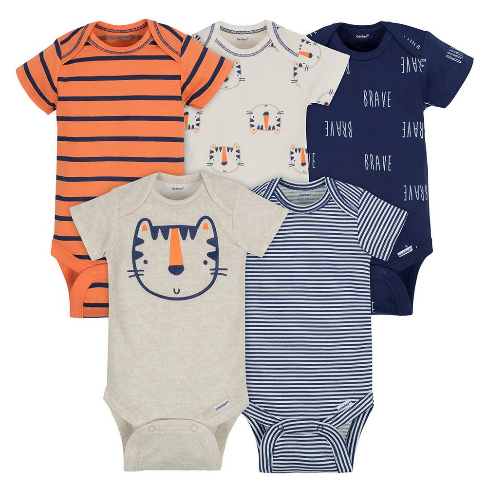 5-Pack Boys Tiger Onesies® Brand Short Sleeve Bodysuits