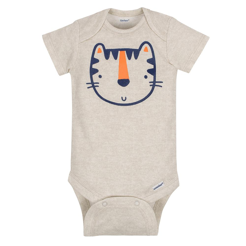 5-Pack Boys Tiger Onesies® Brand Short Sleeve Bodysuits-Gerber Childrenswear
