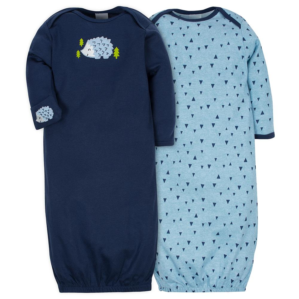2-Pack Boys Hedgehog Mitten Cuff Gowns-Gerber Childrenswear