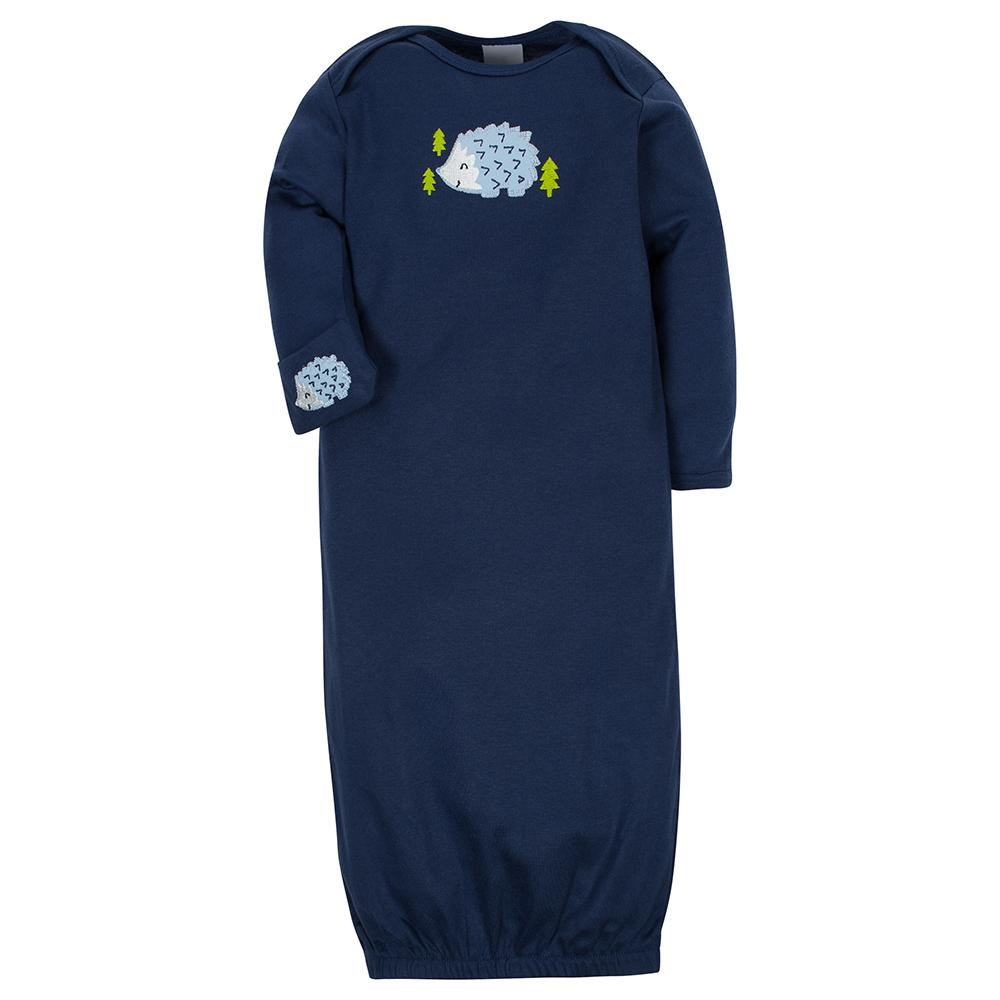 2-Pack Boys Hedgehog Mitten Cuff Gowns