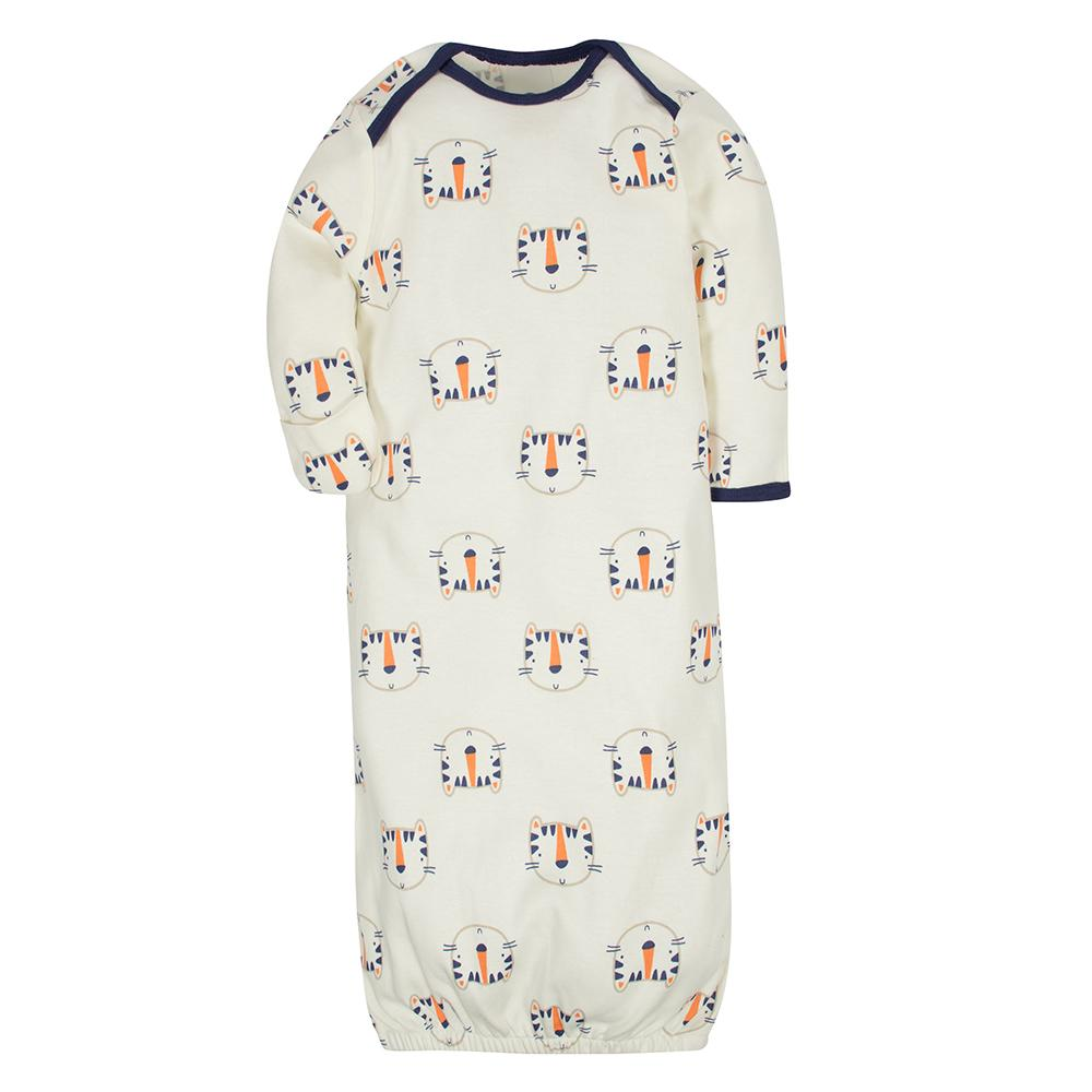 2-Pack Boys Tiger Mitten Cuff Gowns-Gerber Childrenswear