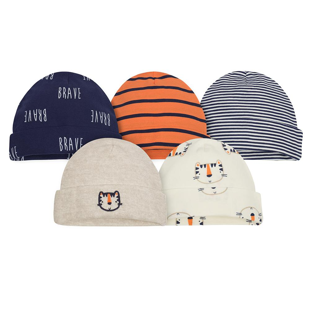 5-Pack Newborn Boy Tiger Caps-Gerber Childrenswear