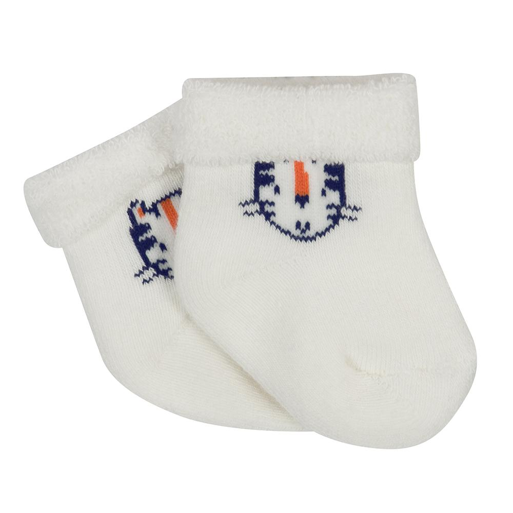 6-Pack Boys Navy & Tan Tiger Wiggle-Proof Socks