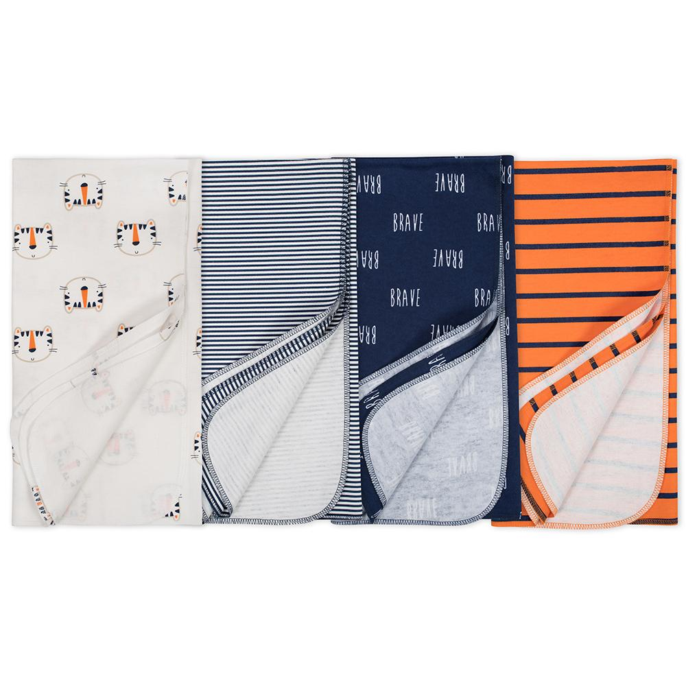 4-Pack Boys Tiger Flannel Receiving Blankets