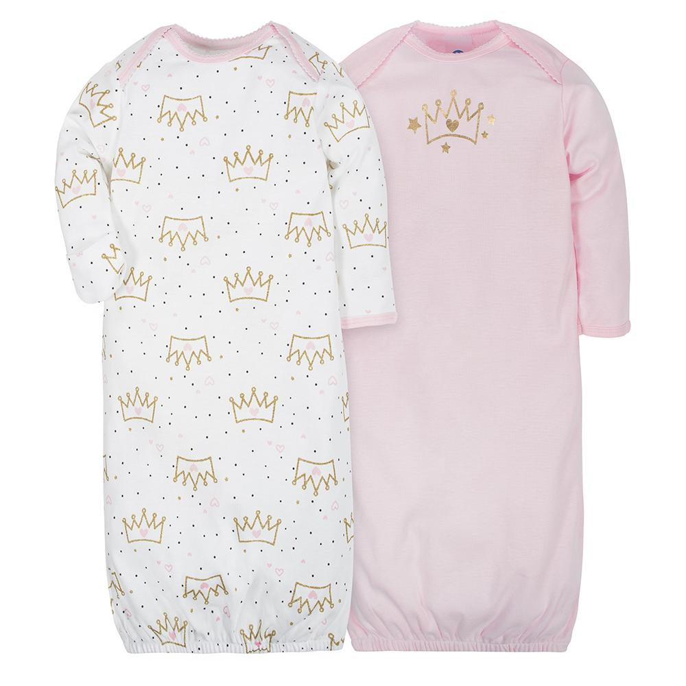 2-Pack Girls Princess Mitten Cuff Gowns-Gerber Childrenswear