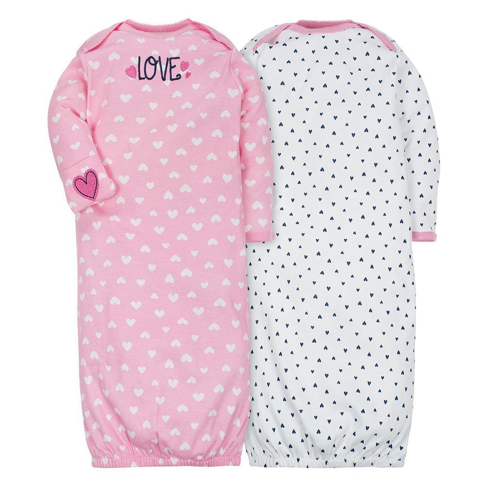 2-Pack Girls Pink & Navy Hearts Mitten Cuff Gowns