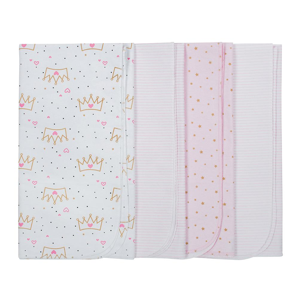 4-Pack Girls Princess Flannel Receiving Blankets