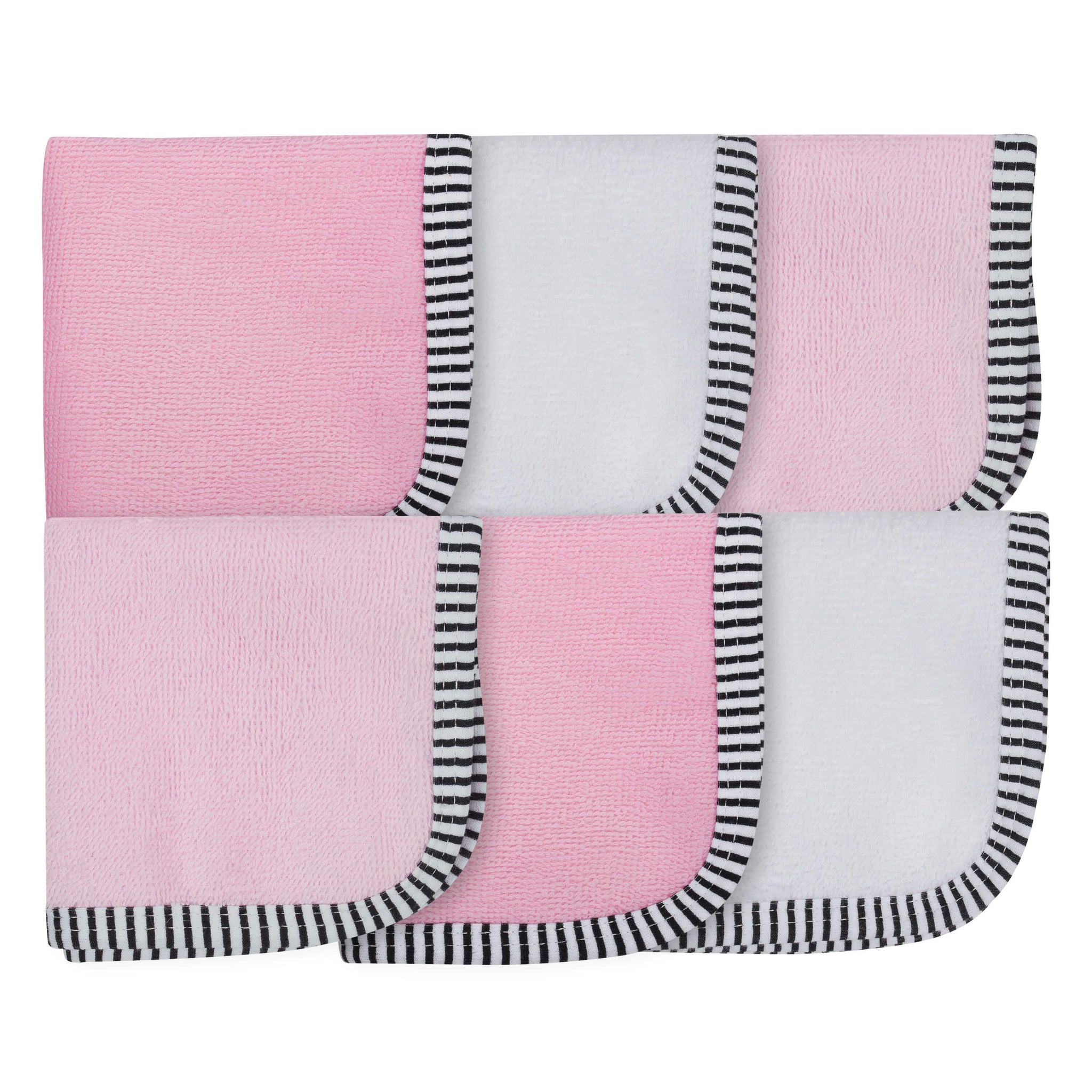 6-Pack Girls Pink Woven Washcloths
