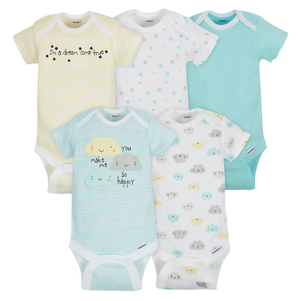 5-Pack Neutral Cloud Onesies® Brand Short Sleeve Bodysuits-Gerber Childrenswear