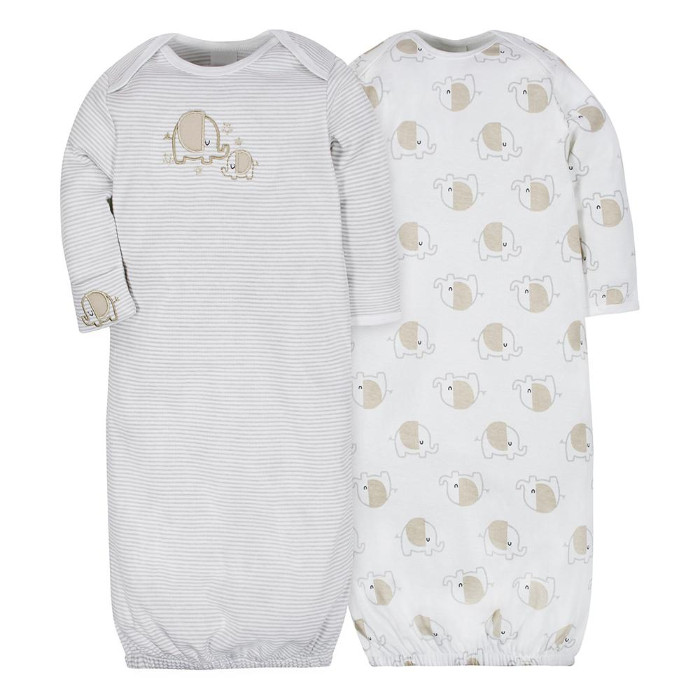 2-Pack Neutral Elephant Mitten Cuff Gowns-Gerber Childrenswear