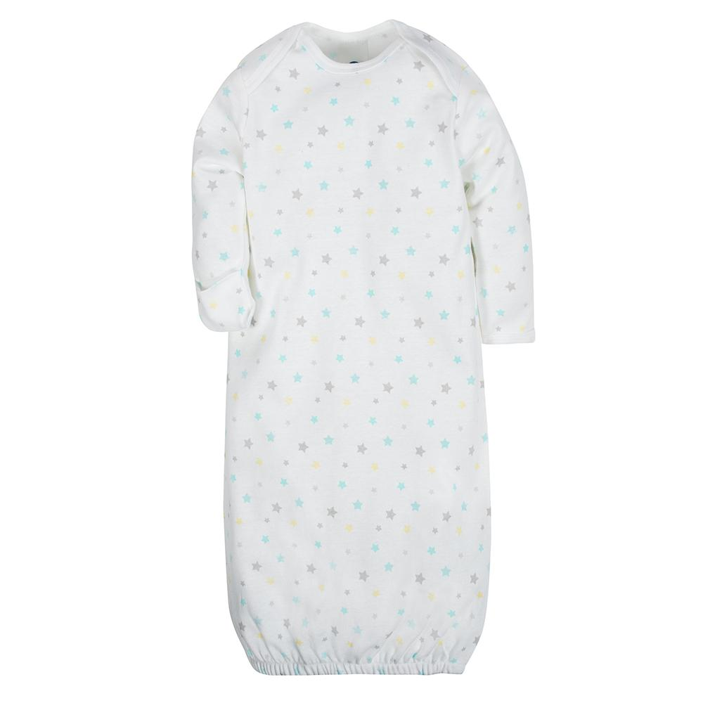2-Pack Neutral Clouds Mitten Cuff Gowns-Gerber Childrenswear