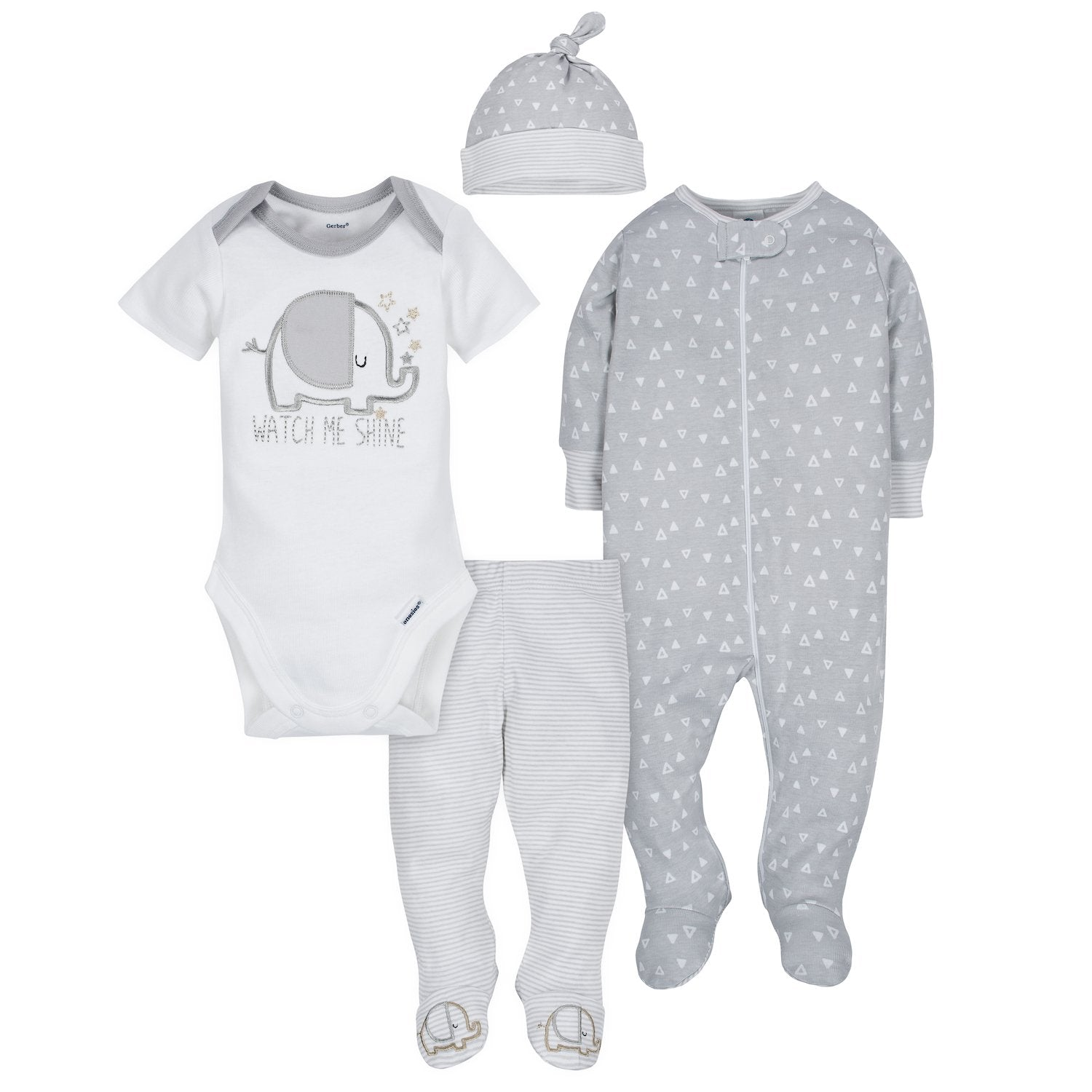 Gerber® 4-Piece Neutral Elephant Bundled Gift Set-Gerber Childrenswear