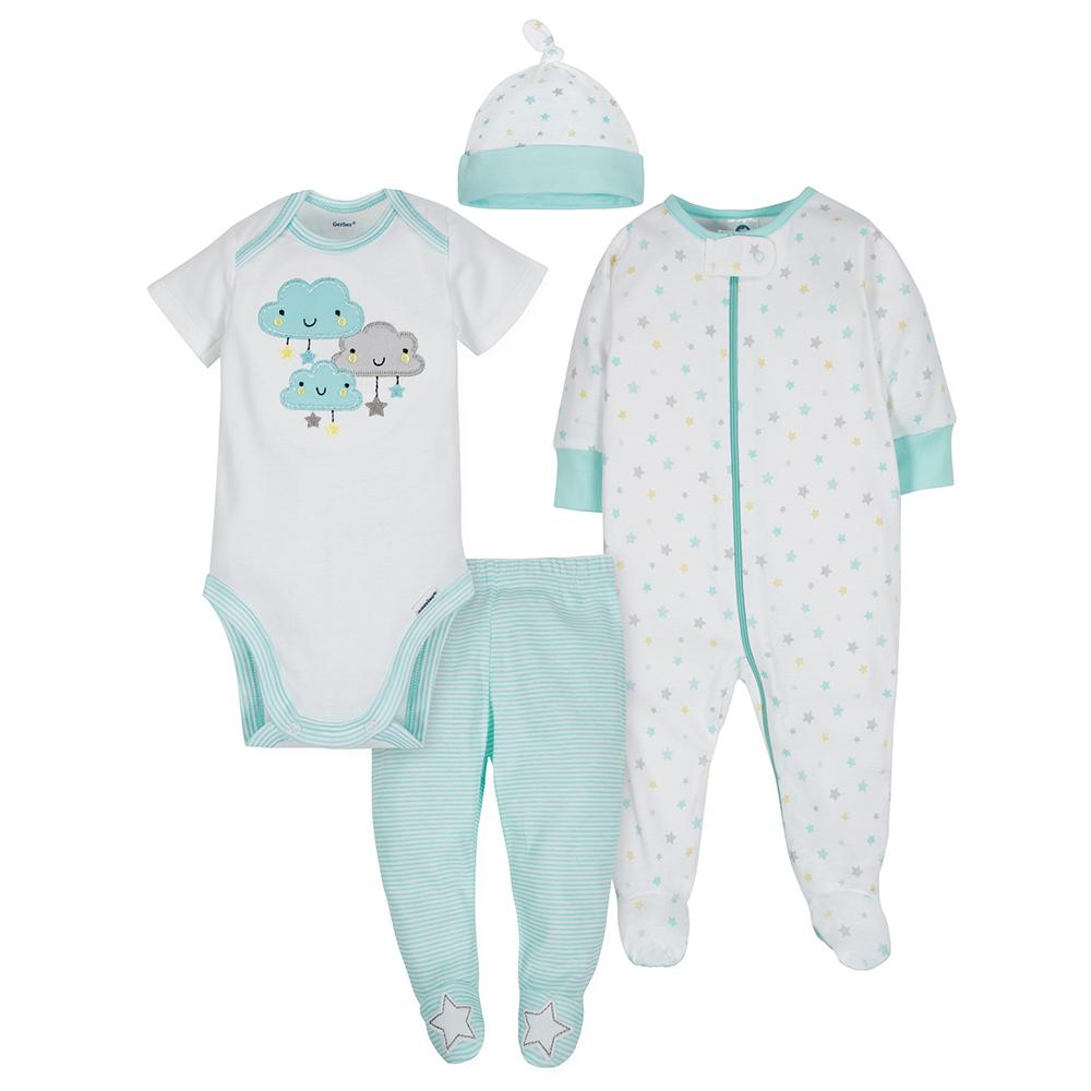 4-Piece Neutral Clouds Bundled Gift Set-Gerber Childrenswear