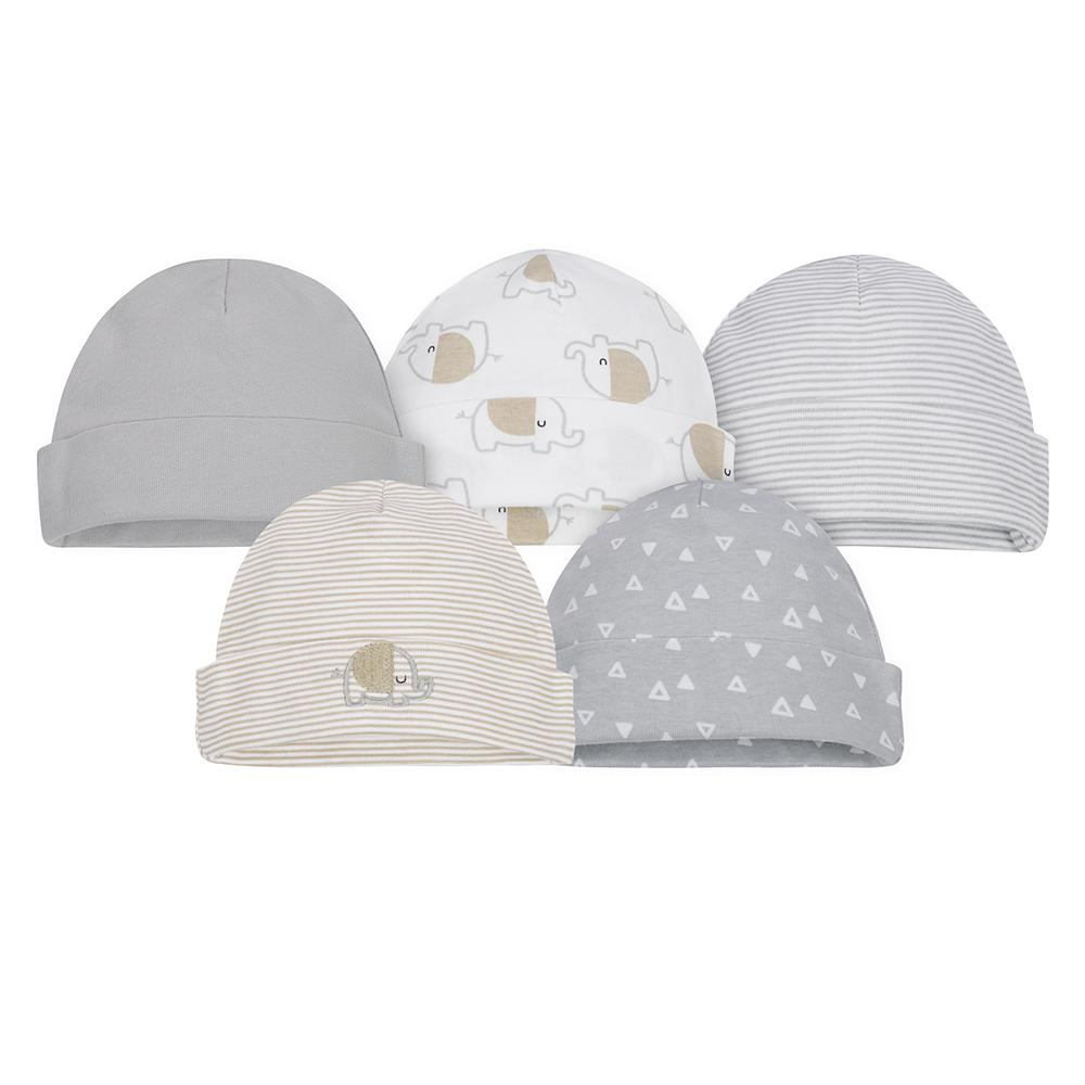 5-Pack Neutral Elephant Caps-Gerber Childrenswear