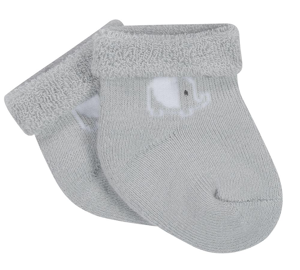 6-Pack Neutral Grey Elephant Wiggle Proof Terry Socks-Gerber Childrenswear