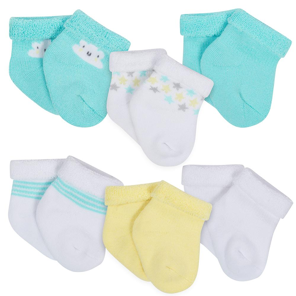 6-Pack Neutral Cloud Print Wiggle Proof Terry Socks-Gerber Childrenswear