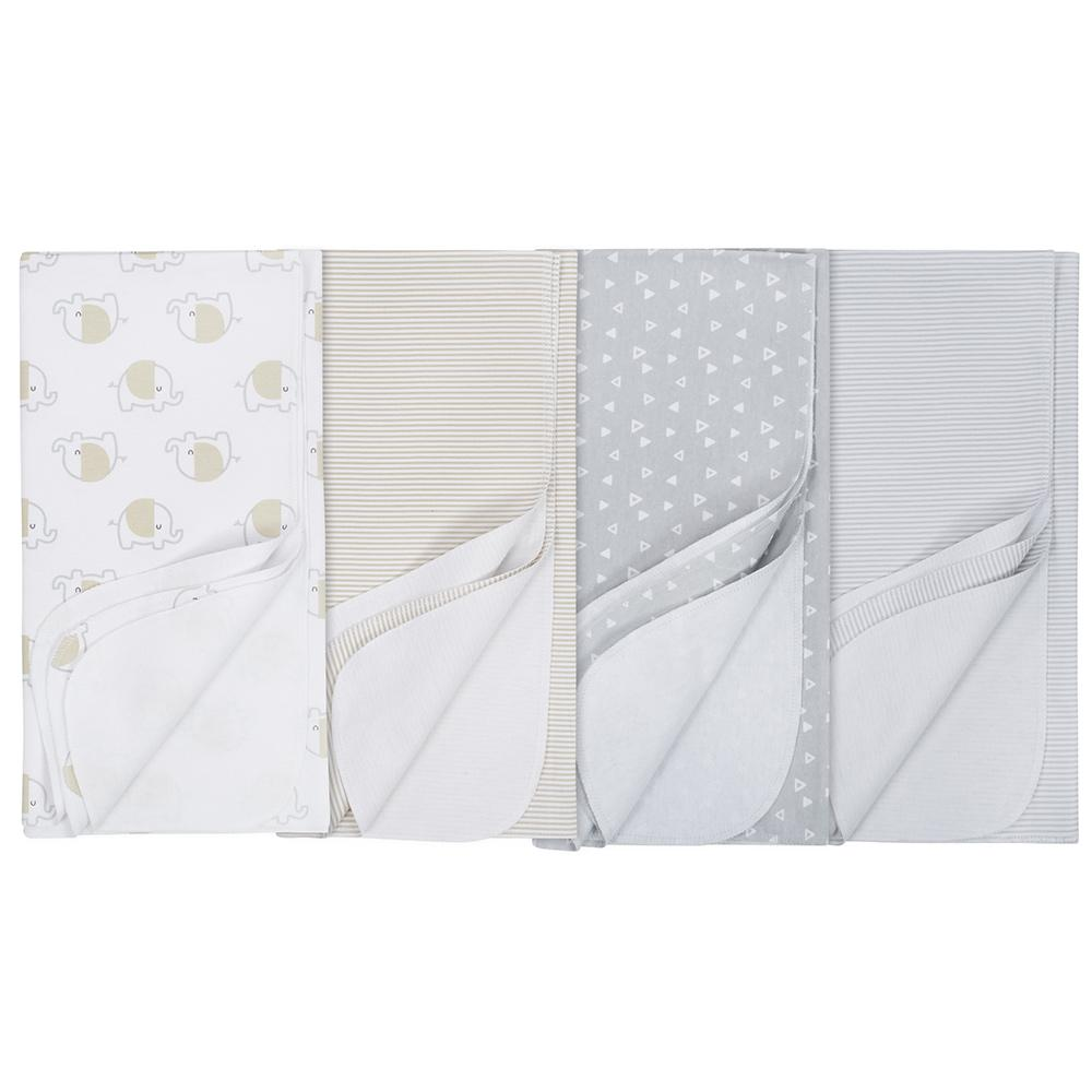 4-Pack Neutral Elephant Flannel Receiving Blankets