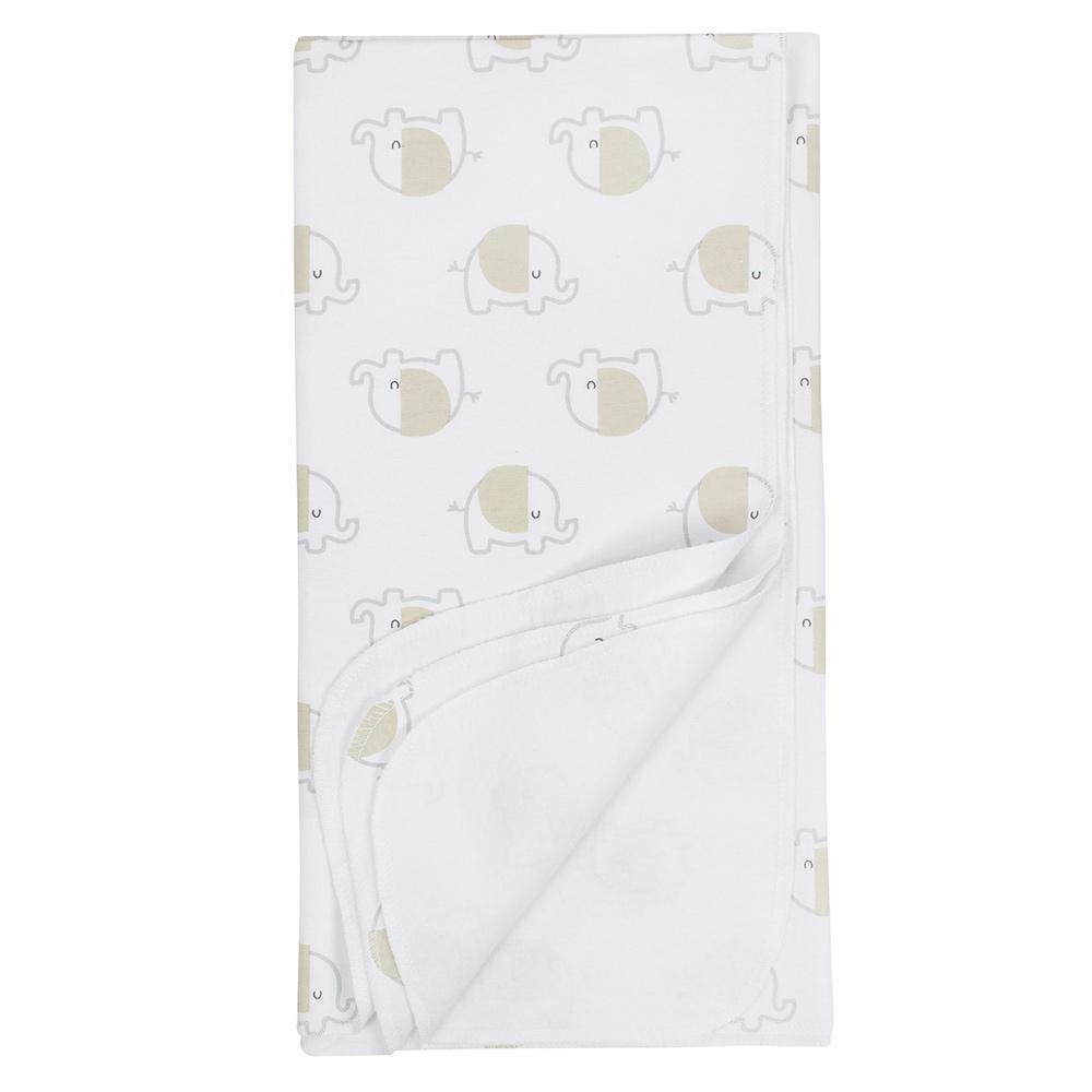 4-Pack Neutral Elephant Flannel Receiving Blankets-Gerber Childrenswear