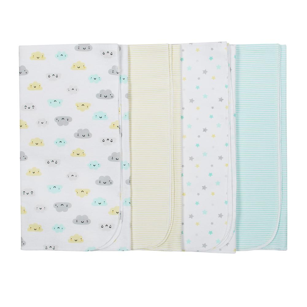4-Pack Neutral Yellow Clouds Flannel Receiving Blankets
