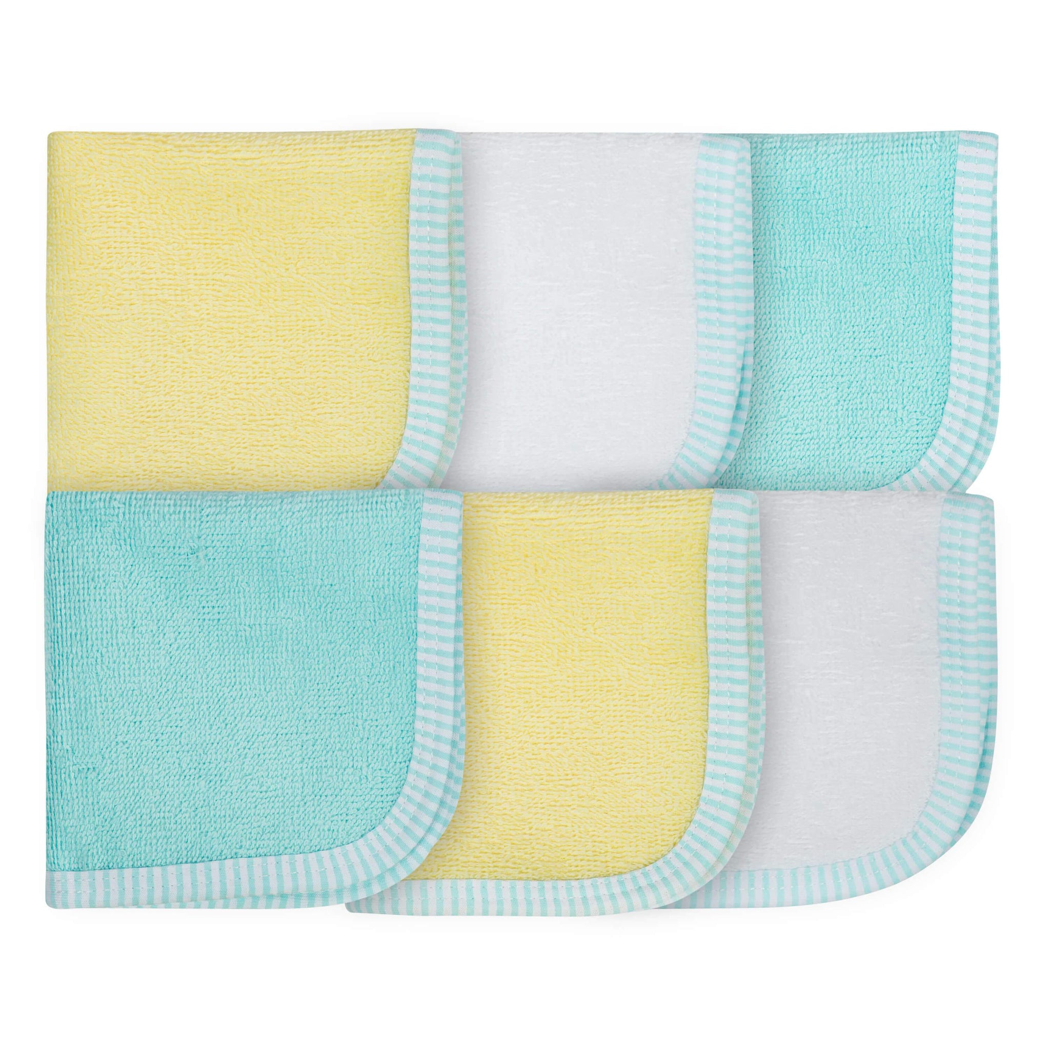 6-Pack Neutral Yellow and Blue Woven Washcloths